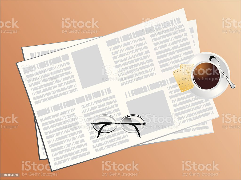 Reading the newspaper with coffee royalty-free stock vector art