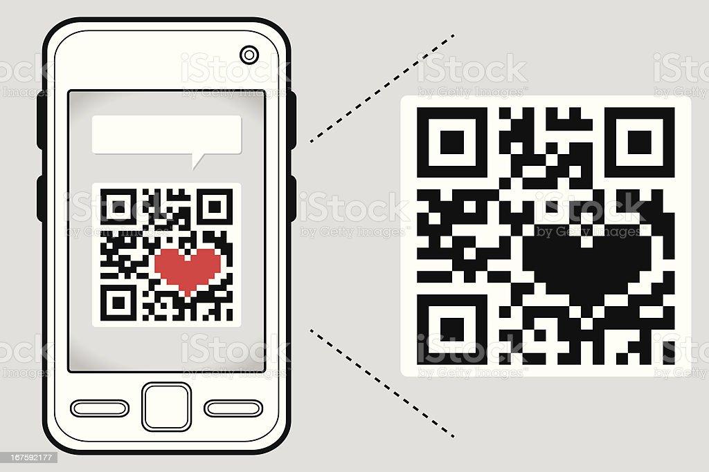 Reading your heart through a QR Code royalty-free stock vector art
