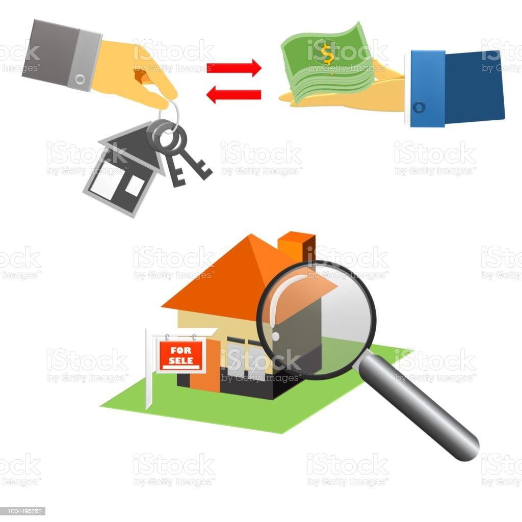 Agent immobilier avec maison modèle et touches main qui donne les clés de la maison