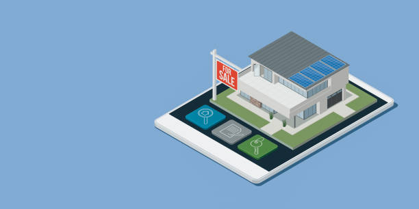 Real estate app with isometric house Real estate and architecture app with isometric energy efficient house on a smartphone touch screen display, 3D illustration augmented reality sustainable stock illustrations
