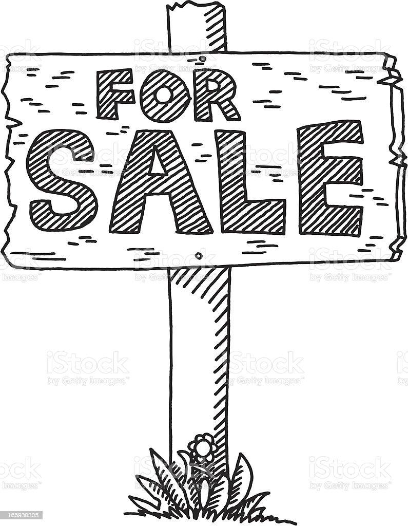 Real Estate For Sale Sign vector art illustration