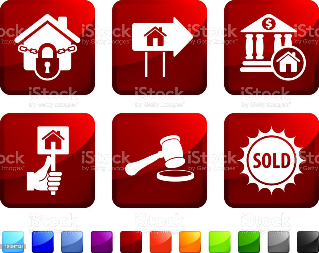 real estate foreclosure royalty free vector icon set stickers royalty-free stock vector art