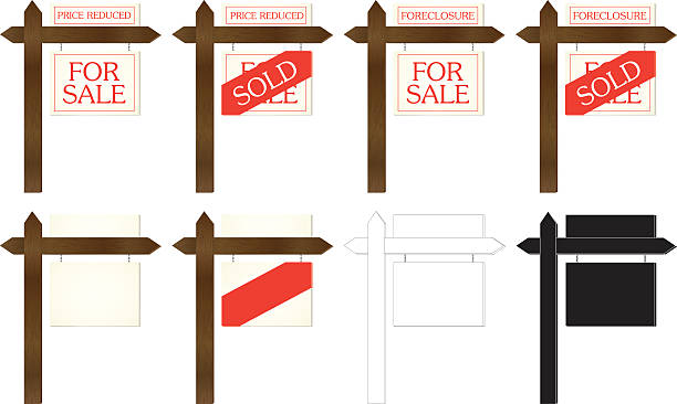 ilustraciones, imágenes clip art, dibujos animados e iconos de stock de señales de inmobiliaria - embargo hipotecario