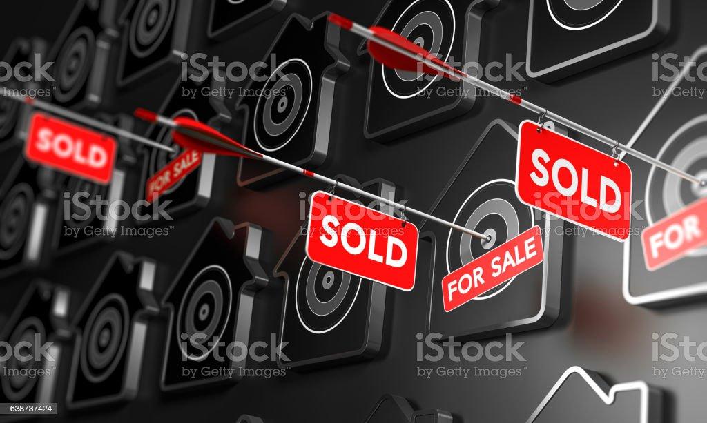 Real Estate Sold Sign Concept. vector art illustration