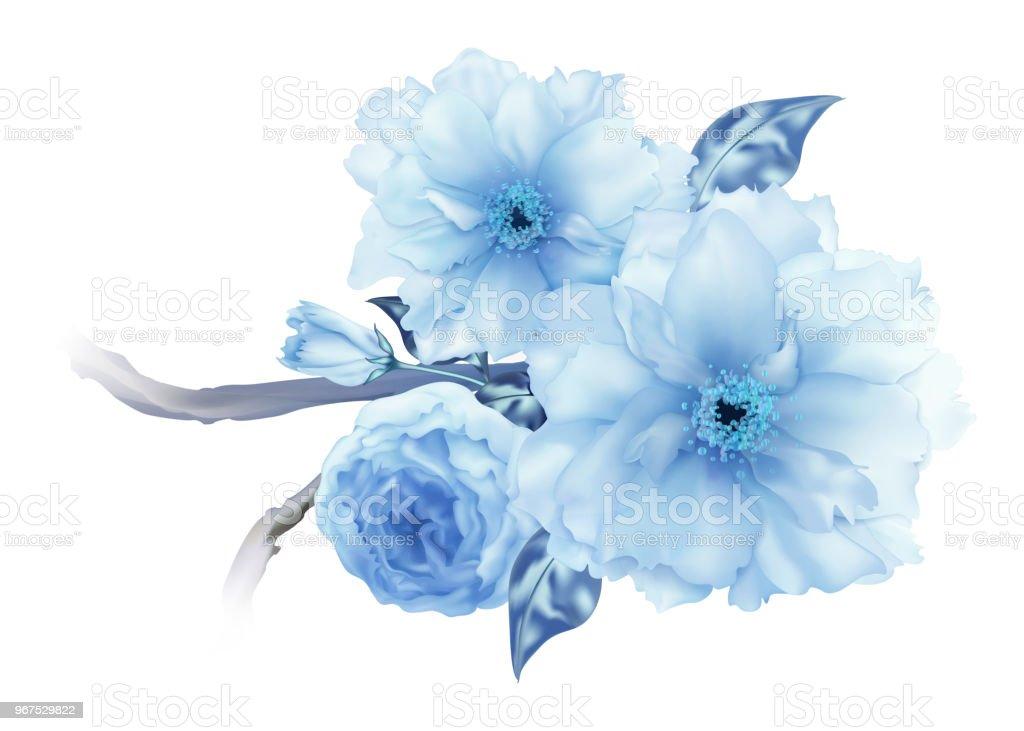 3 D のリアルな青桜さくら花支店デジタル アートの分離 アプリコットの