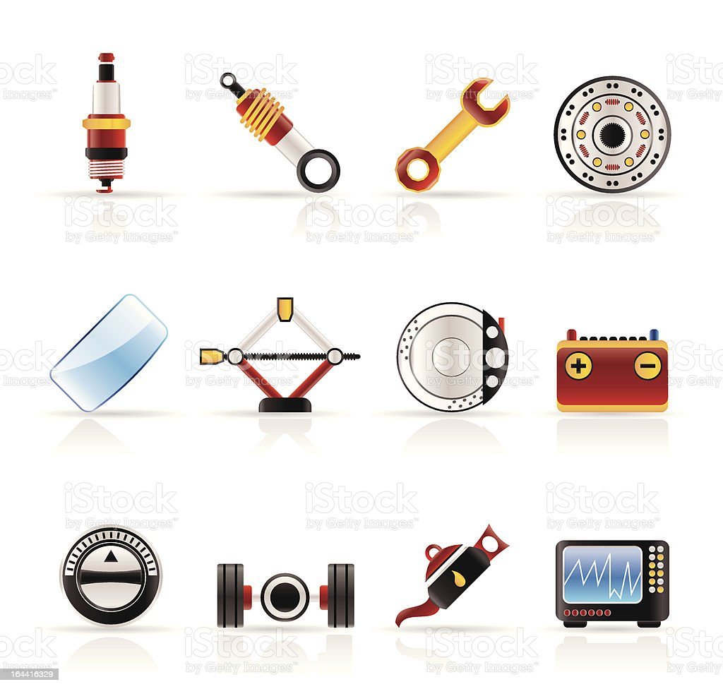 Realistic Car Parts and Services icons royalty-free stock vector art