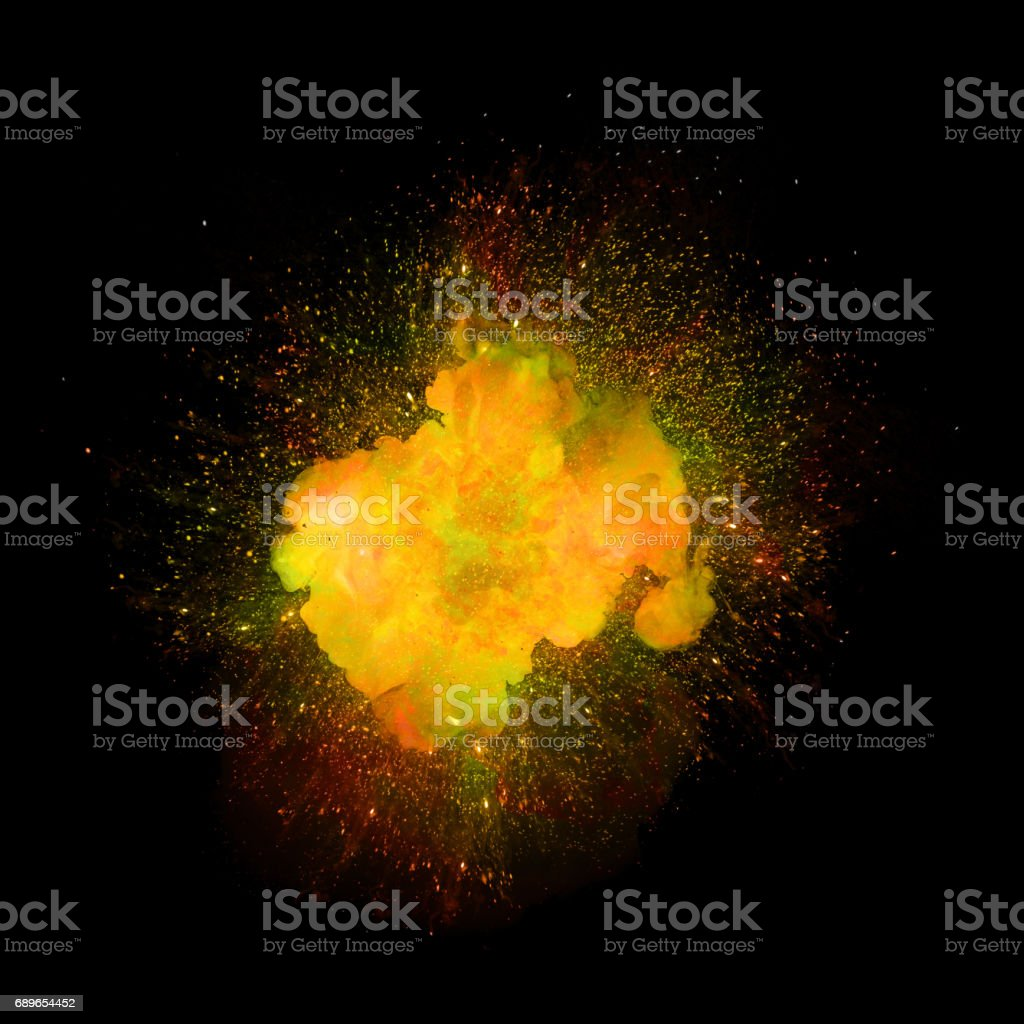 Realistic explosion, orange and green color with sparks isolated on black background vector art illustration