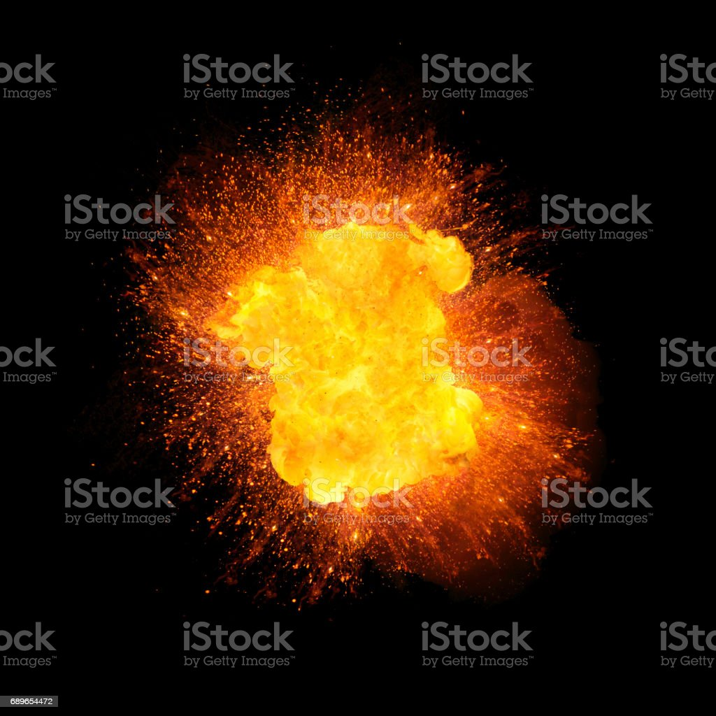 Realistic explosion, orange color with sparks isolated on black background vector art illustration
