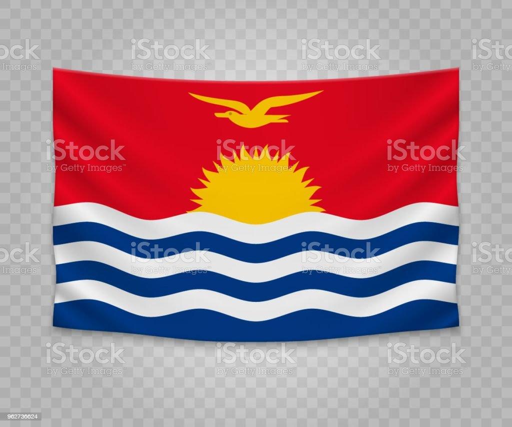 Realistic hanging flag - Illustrazione stock royalty-free di Bandiera