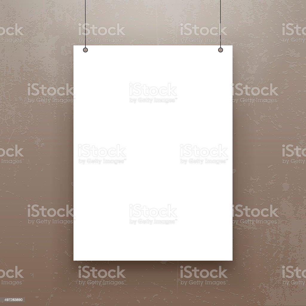 Realistic hanging Paper Sheet Mockup vector art illustration