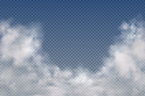 Realistic  isolated and  transparent  clouds,fog or smoke  on a blue background.Graphic element vector. Vector design shape for logo, web and print.