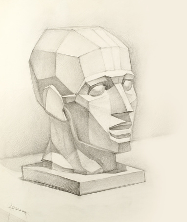 realistic pencil sketch of a human plaster head on paper