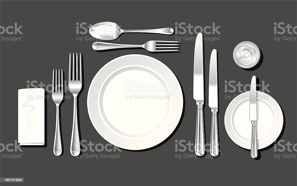 Realistic place setting vector art illustration
