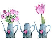 istock Realistic tulips set. Not trace. The blank for your design. Pon white background. 1312171215