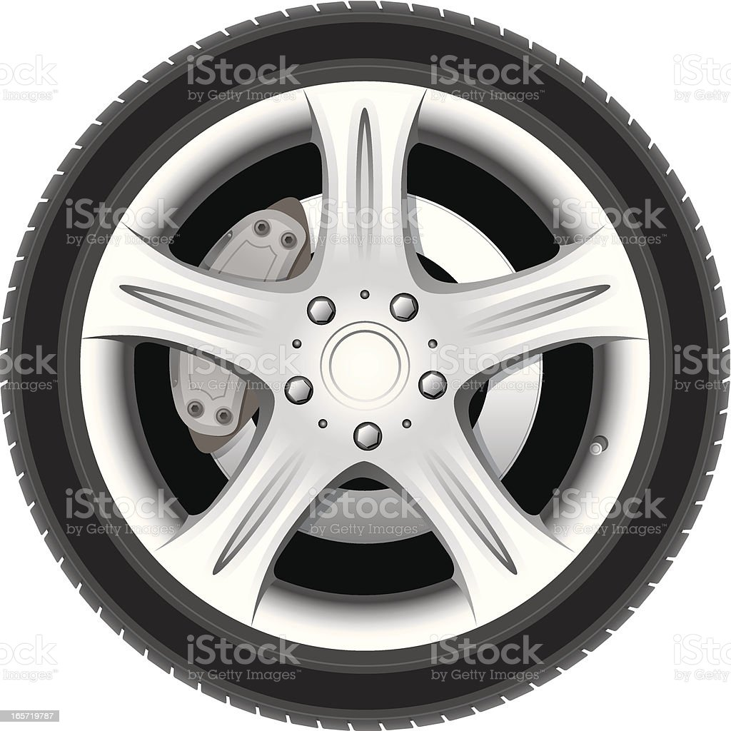 Realistic wheel vector art illustration