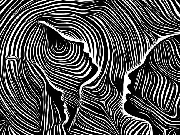 Reality of Inner Lines Inner Geometry series. Backdrop design of Human Face rendered in traditional woodcut style for works on human soul, internal drama, art, poetry and spirituality linocut stock illustrations