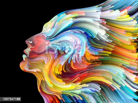 Face of Color series. Backdrop composed of human profile and colorful lines of moving paint and suitable for use in the projects on creativity, design, internal world, human nature and artistic soul