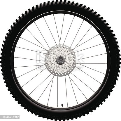 Mountain Bike Rear Wheel with Chainring Cassette and Brake Disc.