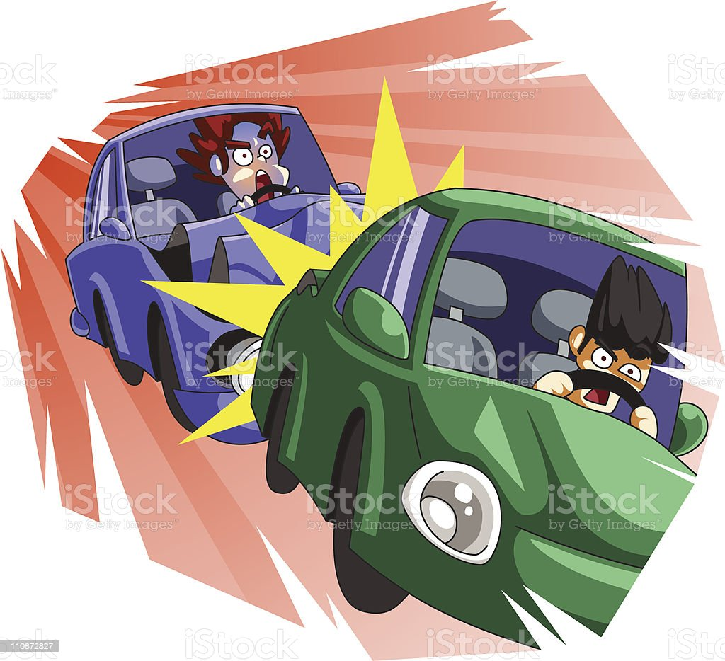 Rear end collision vector art illustration