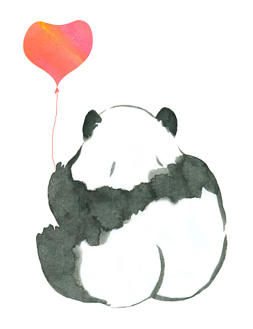 rear view of cute ink panda with heart shaped balloon