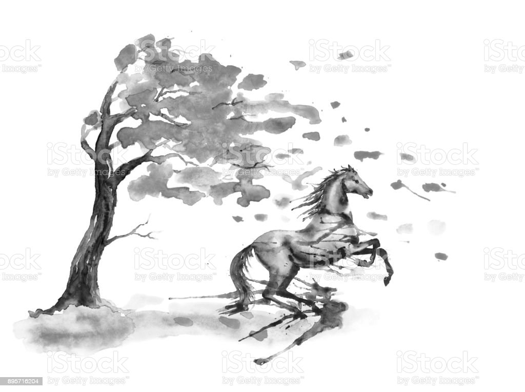 Rearing up horse with ink or watercolor blots stains and autumn tree with fall leaves on white. Black and white monochrome Hand drawing art of black stallion. vector art illustration