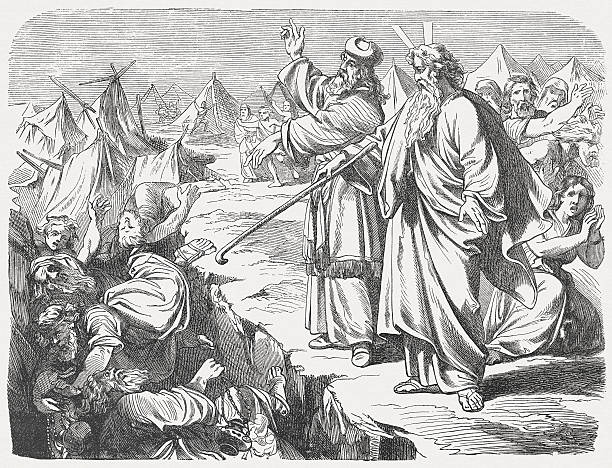 """Rebellion of Korah (Numbers 16), wood engraving, published in 1877 So they got away from the homes of Korah, Dathan, and Abiram on every side, and Dathan and Abiram came out and stationed themselves in the entrances of their tents with their wives, their children, and their toddlers. Then Moses said, """"This is how you will know that the Lord has sent me to do all these works, for I have not done them of my own will. If these men die a natural death, or if they share the fate of all men, then the Lord has not sent me. But if the Lord does something entirely new, and the earth opens its mouth and swallows them up along with all that they have, and they go down alive to the grave, then you will know that these men have despised the Lord!"""" When he had finished speaking all these words, the ground that was under them split open,  and the earth opened its mouth and swallowed them, along with their households, and all Korah's men, and all their goods. They and all that they had went down alive into the pit, and the earth closed over them. So they perished from among the community. (Numbers, Chapter 16, 27-33). Woodcut after a drawing by Julius Schnorr von Carolsfeld (German painter, 1794 - 1872) from my archive, published in 1877. moses religious figure stock illustrations"""