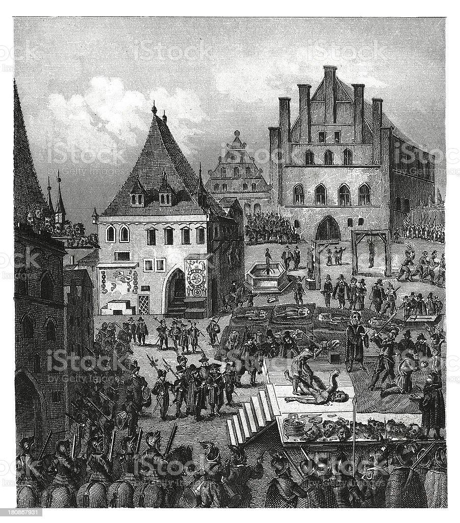 Rebels' execution in Prague, XVII century royalty-free stock vector art