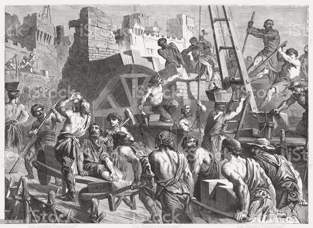 Rebuilding the Wall of Jerusalem (Nehemiah 3-4), published in 1886 vector art illustration