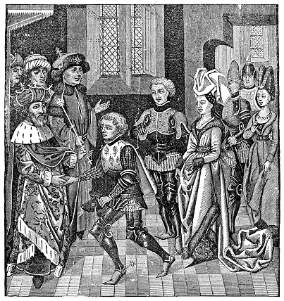 Reception of Walter Sans Avoir (Walter the Penniless) by Coloman, King of Hungary during the People's Crusade (circa 11th century). Vintage etching circa 19th century.
