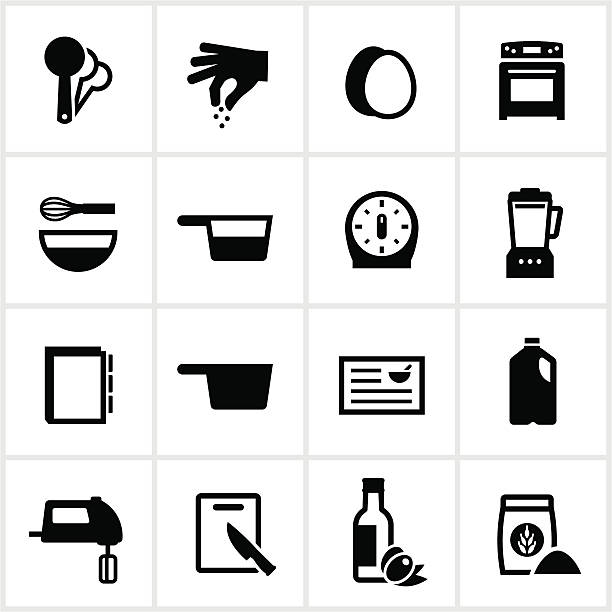 Recipe and Ingredients Icons Icons associated with recipes in cooking. All white strokes/shapes are cut from the icons and merged allowing the background to show through. measuring cup stock illustrations