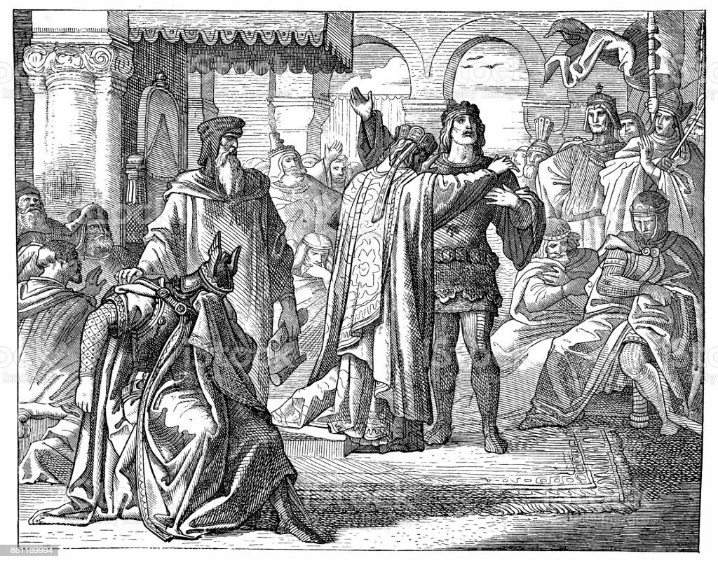 Reconciliation Of Richard I. With The Emperor Henry VI vector art illustration