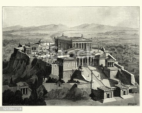 Vintage engraving of a Reconstruction of the Acropolis of Athens in Ancient times. The Acropolis of Athens is an ancient citadel located on a rocky outcrop above the city of Athens and contains the remains of several ancient buildings of great architectural and historic significance, the most famous being the Parthenon.