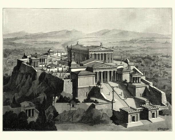 stockillustraties, clipart, cartoons en iconen met wederopbouw van de akropolis van athene in de oudheid - athens