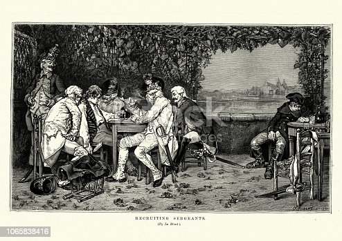 Vintage engraving of Recruiting sergents signing an man into the army after getting him drunk. after Le Blant