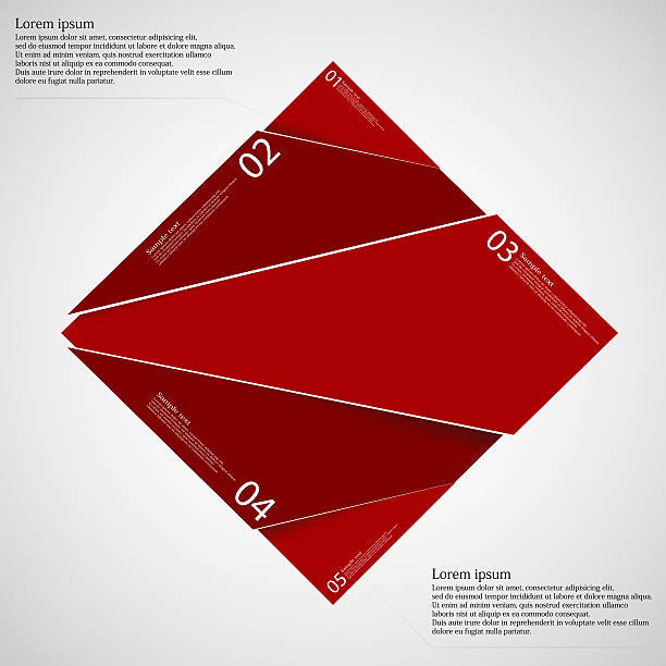 Rectangle infographic template divided to five red parts vector art illustration