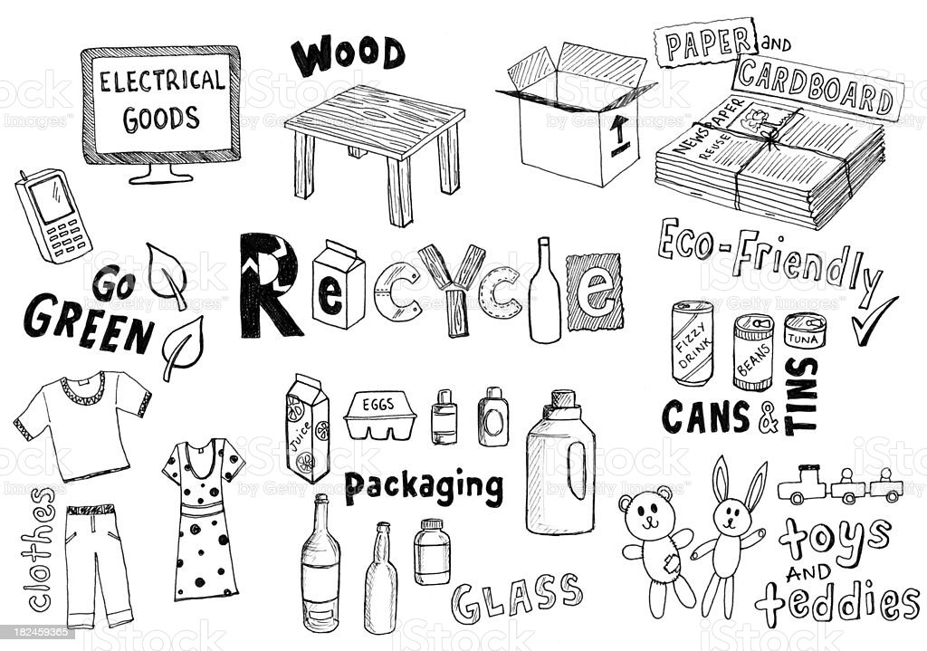 Recycling Kritzeleien! – Vektorgrafik