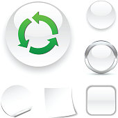 Recycle white icon. Vector illustration.