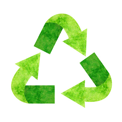 recycle sign watercolor, illustration recycling symbol for clip art