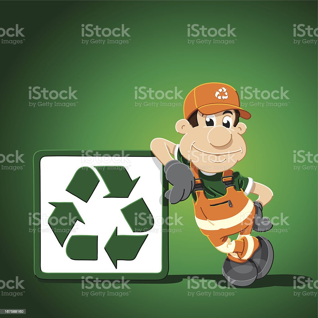 Recycling Cartoon Man Leaning Sign royalty-free stock vector art