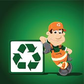 Recycling Cartoon Man Leaning Sign