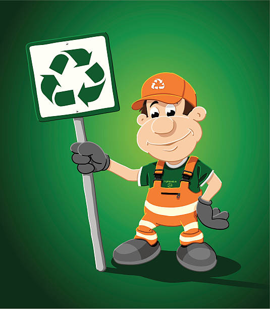 "Recycling Cartoon Man Sign ""Vector Illustration of a worker, who is holding a recycling sign. The background is on a separate layer, so you can use the illustration on your own background. The colors in the .eps-file are ready for print (CMYK). Included files: EPS (v8) and Hi-Res JPG."" cartoon people sign stock illustrations"
