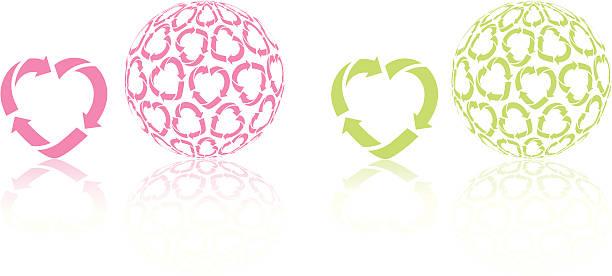 bildbanksillustrationer, clip art samt tecknat material och ikoner med recycling heart icon and globe - recycling heart
