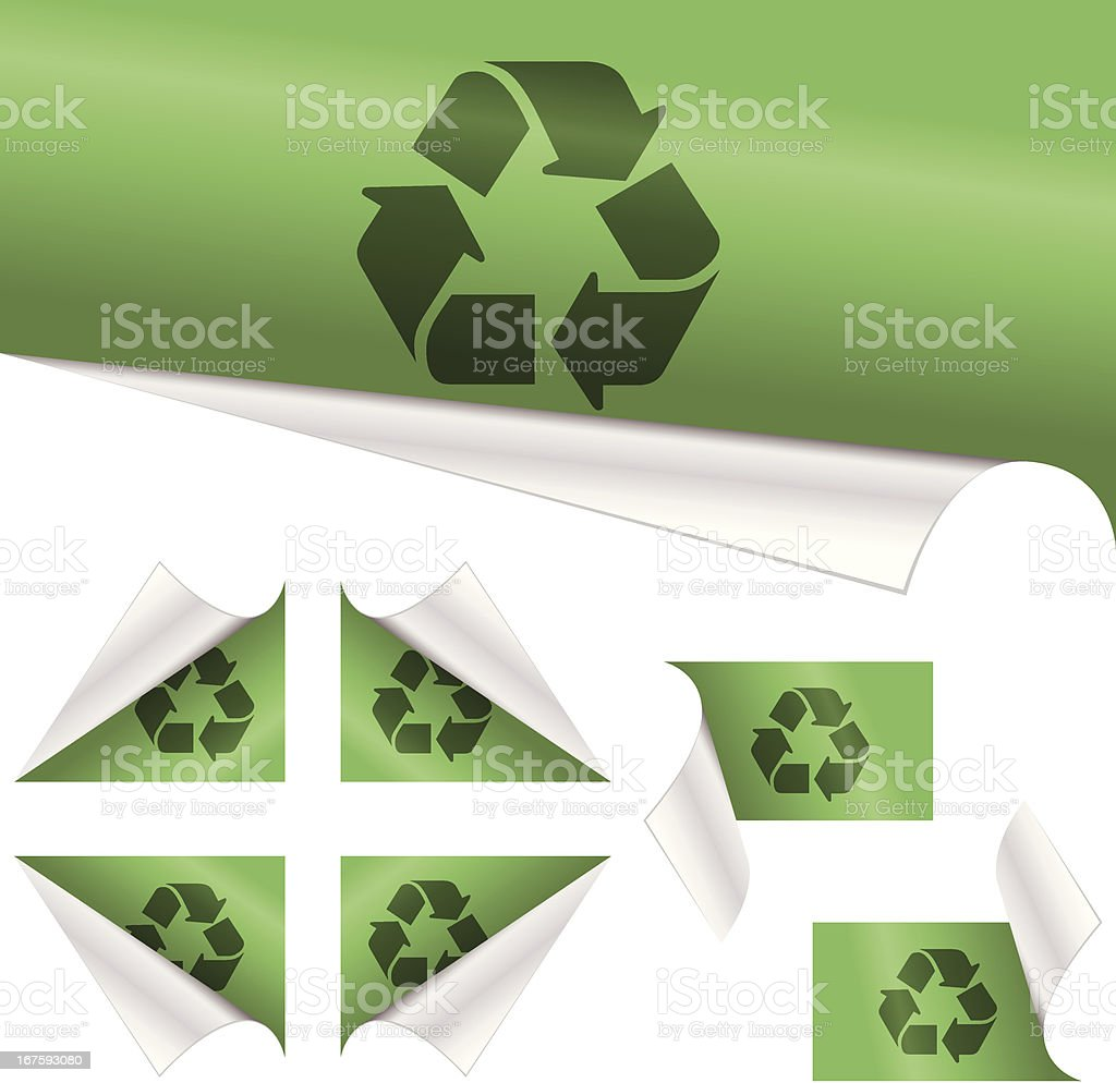 Recycling Sign behind curled paper royalty-free recycling sign behind curled paper stock vector art & more images of arrow symbol
