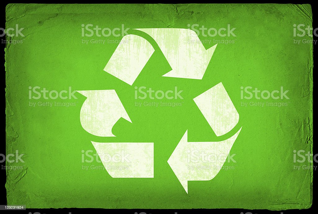 Recycling sign on old paper Background royalty-free stock vector art