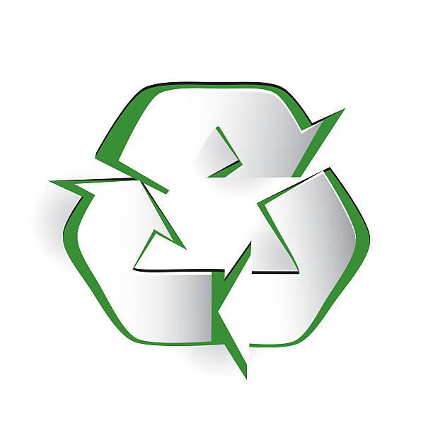 Recycling Symbol Cut Paper Design vector art illustration