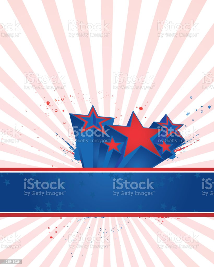 red and blue stars banner royalty-free stock vector art