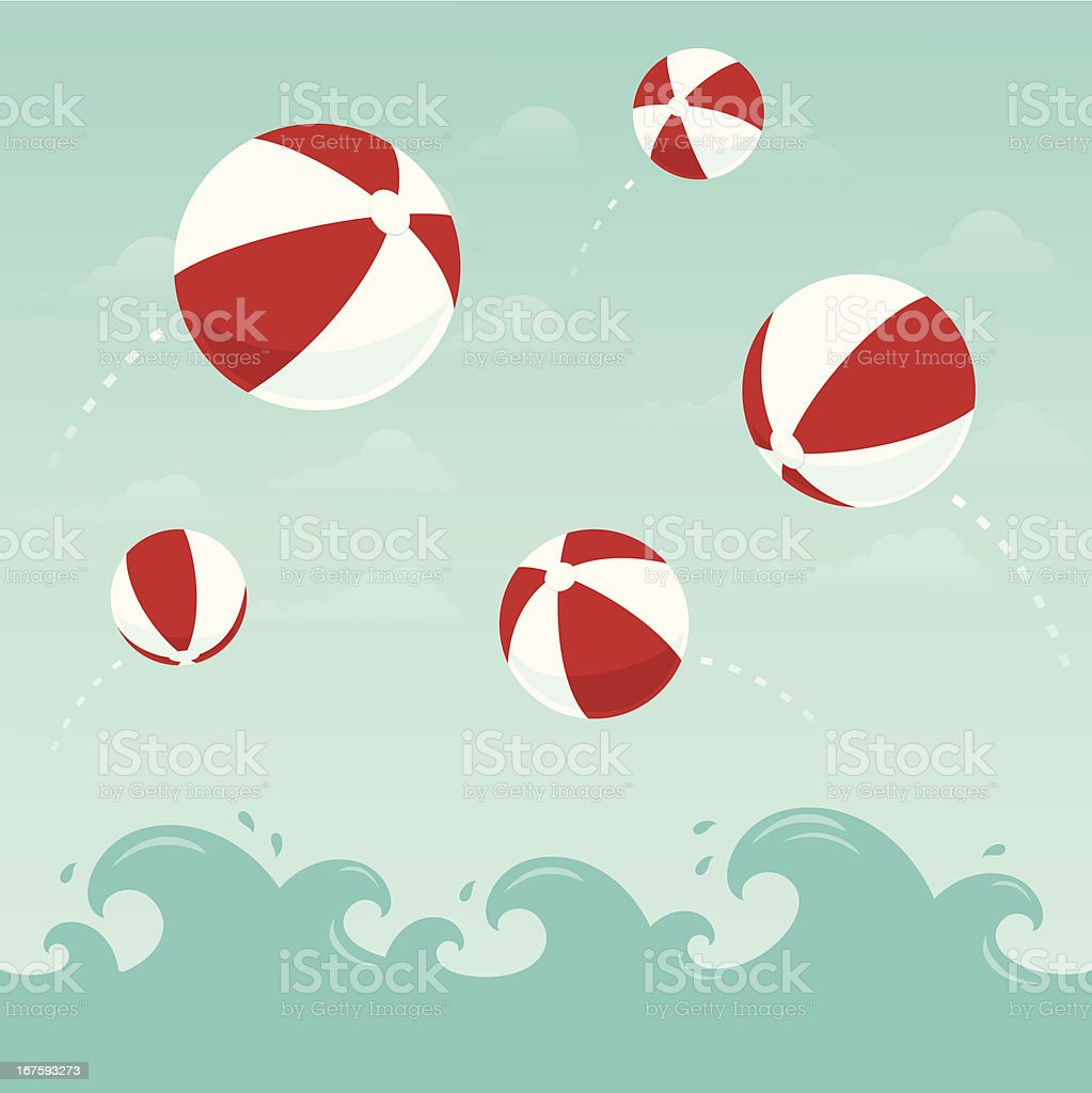 Red and white beach balls in the water vector art illustration