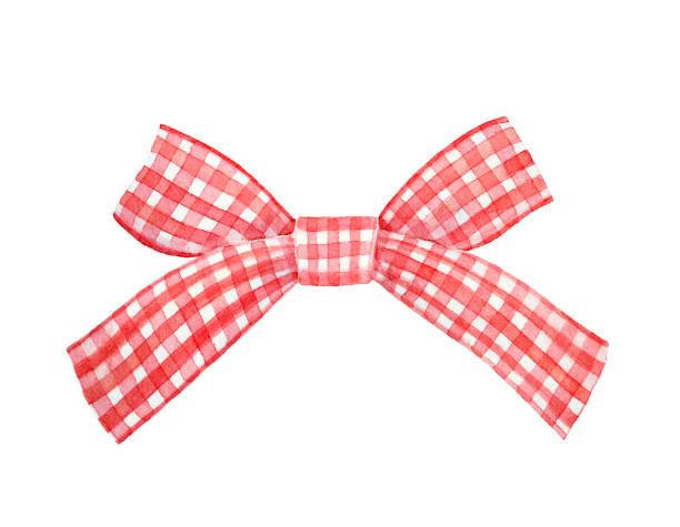 illustrazioni stock, clip art, cartoni animati e icone di tendenza di red and white checkered gingham ribbon bow watercolour illustration. - christmas cooking