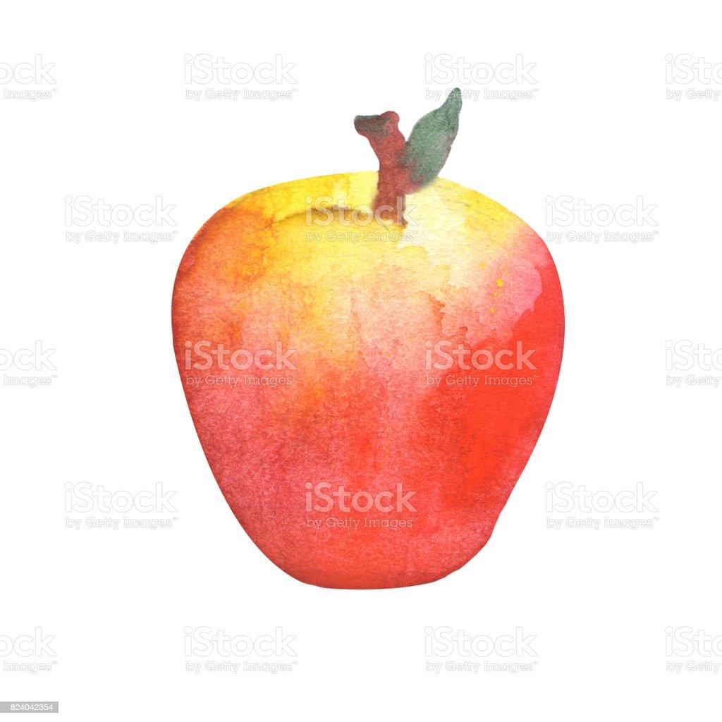 Kırmızı Elma Suluboya Resim Elma çocuk Odası çizimi Stok Vektör