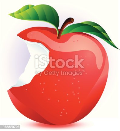 istock Red Apple with Bite Taken Out 163829705
